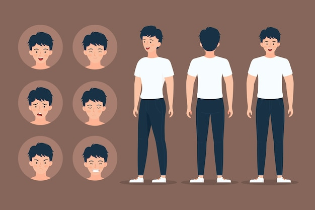 Caráter de homem fazendo poses diferentes Vetor grátis