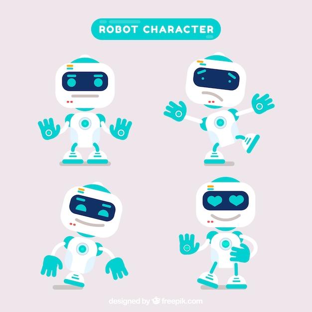 Caráter de robô plano com coleção de poses diferentes Vetor grátis