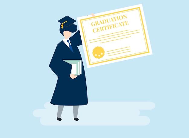 Caráter de um graduado segurando uma ilustração de certificado de graduação Vetor grátis