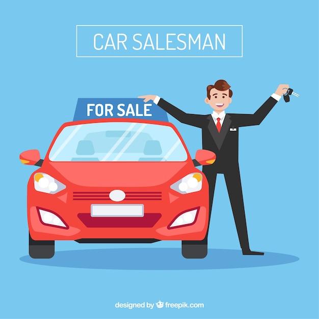 Caráter de vendedor de carros com design plano Vetor grátis