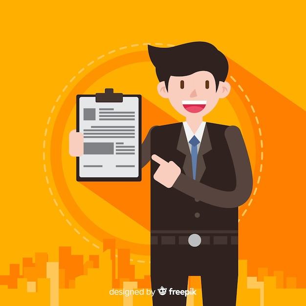 Caráter de vendedor sorridente segurando o contrato Vetor grátis