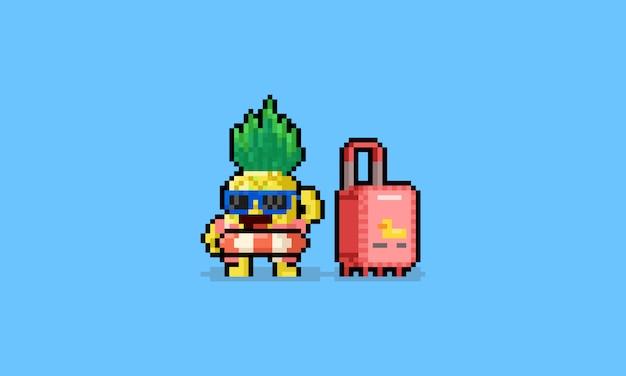 Caráter do abacaxi do verão dos desenhos animados da arte do pixel com bagagem Vetor Premium