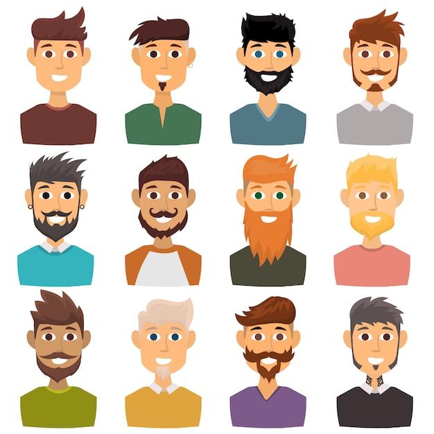 Caráter do avatar farpado da cara do homem das várias expressões e da pessoa principal do penteado do moderno da forma com ilustração do vetor do bigode. Vetor Premium