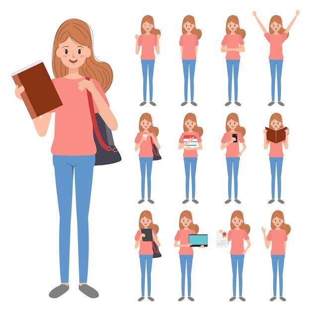 Caráter do estudante de jovem mulher. Vetor Premium