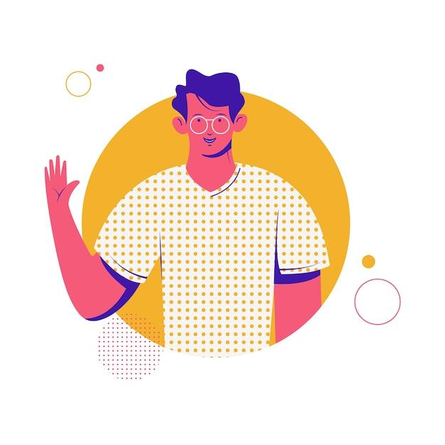 Caráter do homem moderno. personagem de desenho animado. homem amigável. caractere. estoque . Vetor Premium