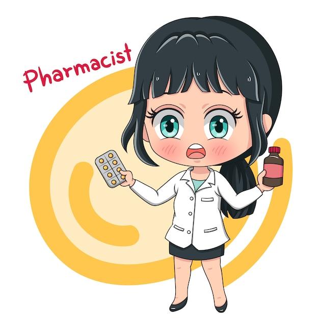 Caráter farmacêutico Vetor Premium
