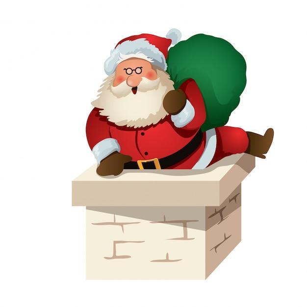 Caráter Lindo Do Papai Noel Entrando Na Chaminé