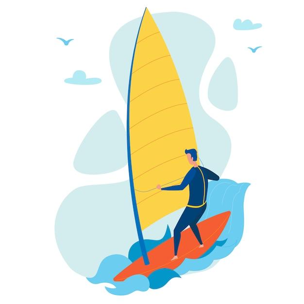 Caráter liso windsurfing extremo do turista Vetor Premium