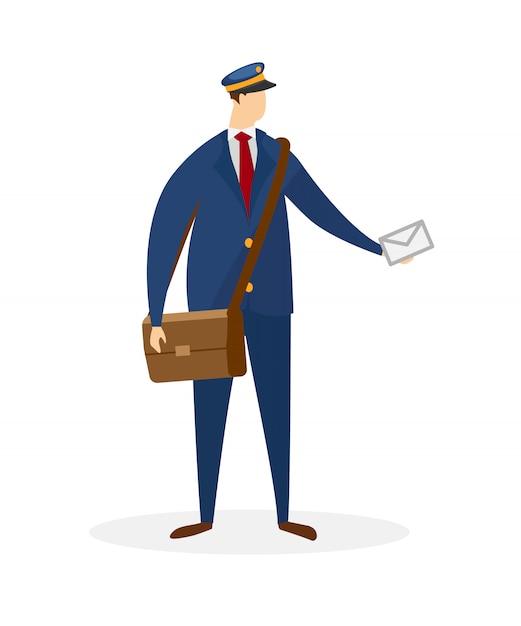 Caráter masculino sem rosto do carteiro entregando correspondência Vetor Premium