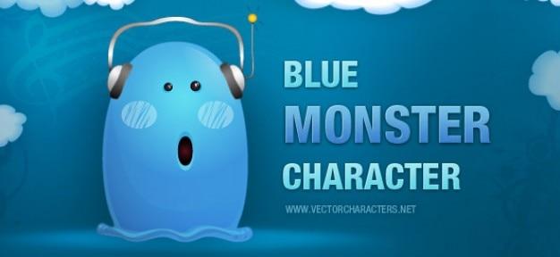Caráter monstro azul com fones de ouvido Vetor grátis