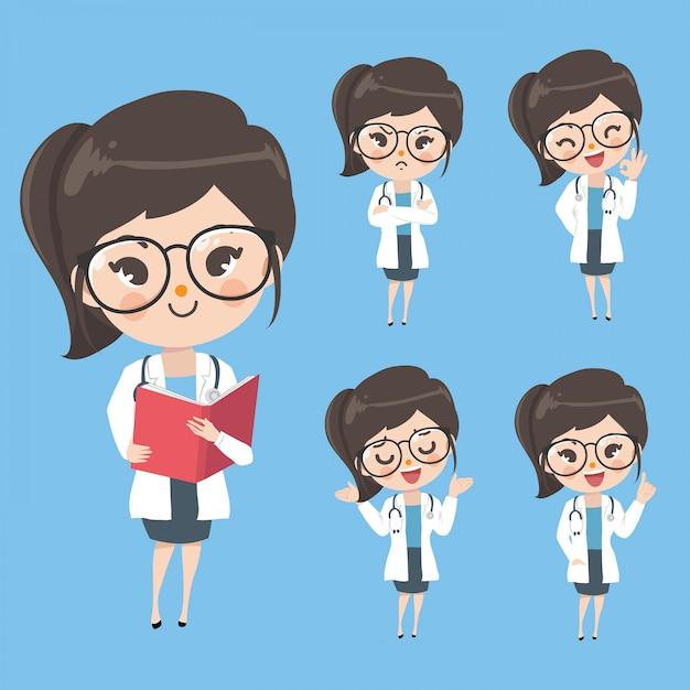 Caráter os médicos femininos mostram uma variedade de gestos, palavras e emoções. Vetor Premium