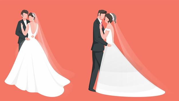 Caráter sem rosto de casal de noivos em duas opções. Vetor Premium