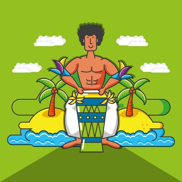 Caráter tropical brasileiro de músico Vetor Premium