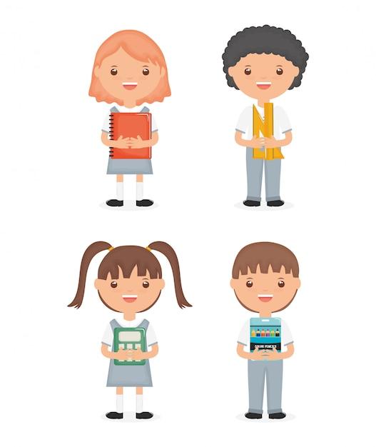 Caráteres bonitos do grupo dos estudantes pequenos Vetor grátis