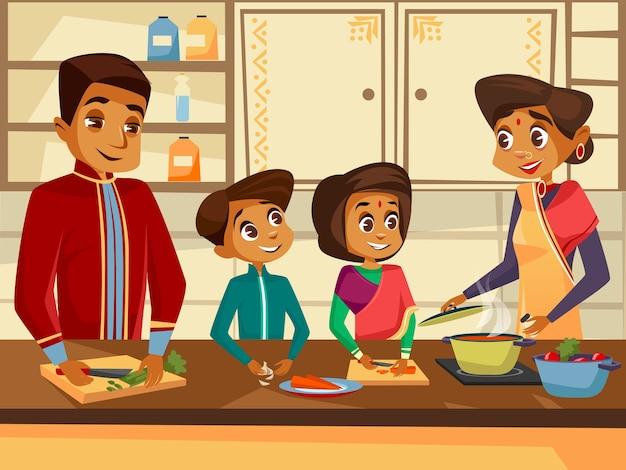 Caráteres indianos da família dos desenhos animados que cozinham no conceito da cozinha junto. Vetor grátis
