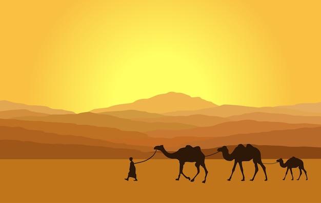 Caravana com camelos no deserto com montanhas no fundo. Vetor Premium