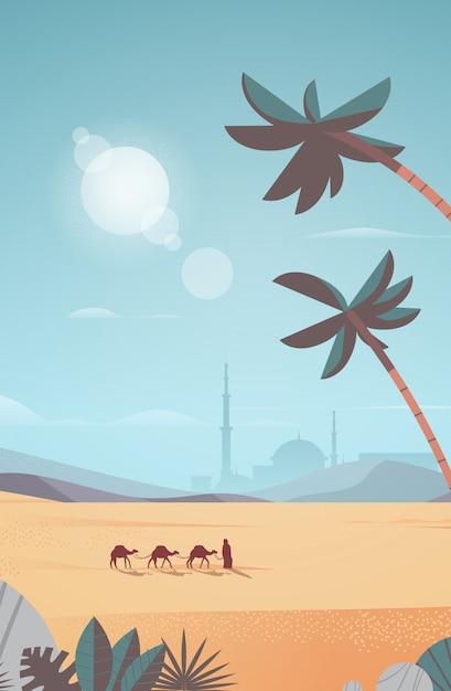 Caravana de camelos que atravessam o deserto cartão eid mubarak modelo de ramadan kareem paisagem árabe vertical ilustração de corpo inteiro Vetor Premium