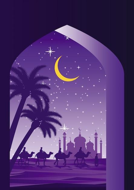 Caravana muçulmana montar camelo a mesquita Vetor Premium