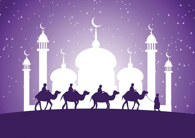 Caravana, muçulmano, passeio, camelo, para, mesquita Vetor Premium