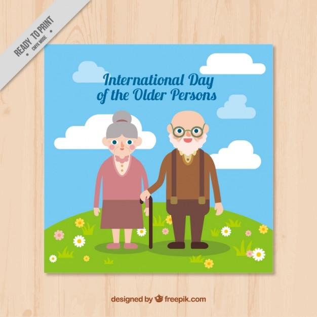 Card international dia as pessoas idosas no design plano Vetor grátis