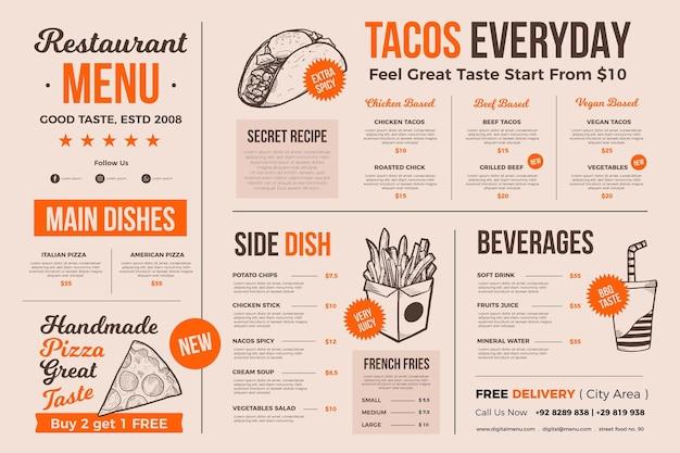 Cardápio de alimentos para uso digital com ilustrações Vetor grátis