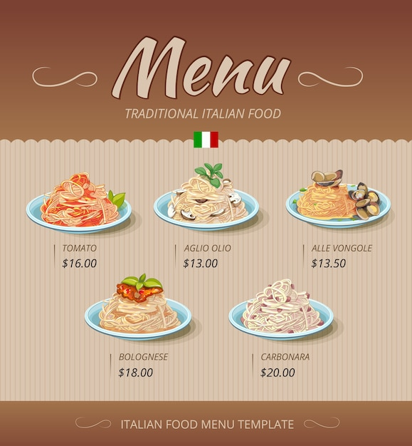 Cardápio de restaurante de massas com pratos e preços Vetor grátis