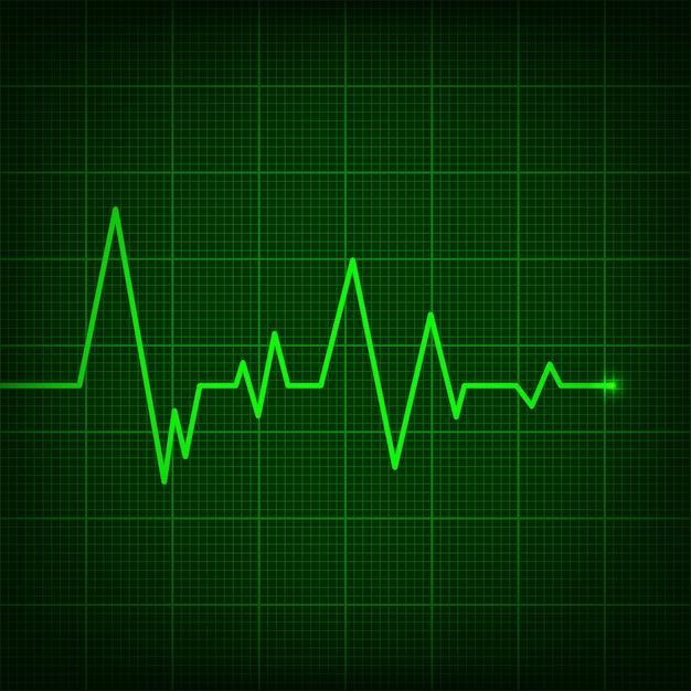 Cardiograma de linha do coração, pulso de pulsação médica. Vetor Premium