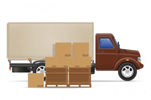 Carga caminhão entrega e transporte mercadorias conceito ilustração em vetor Vetor Premium