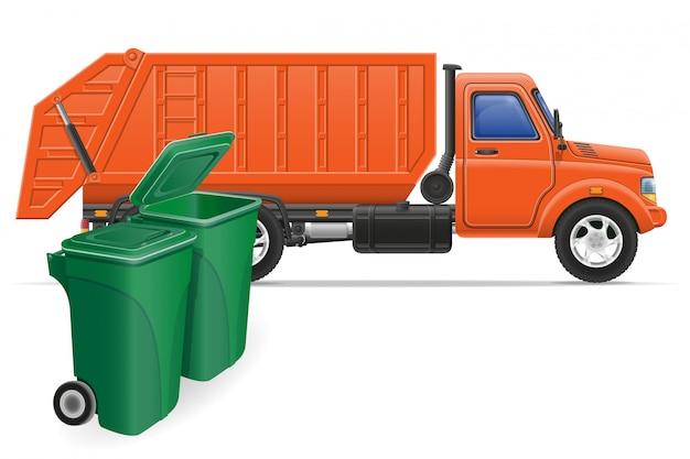 Carga caminhão lixo remoção conceito ilustração em vetor Vetor Premium