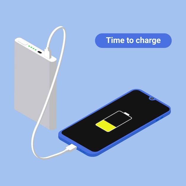 Carga de telefone isométrica e conceito de banco de potência. Vetor Premium