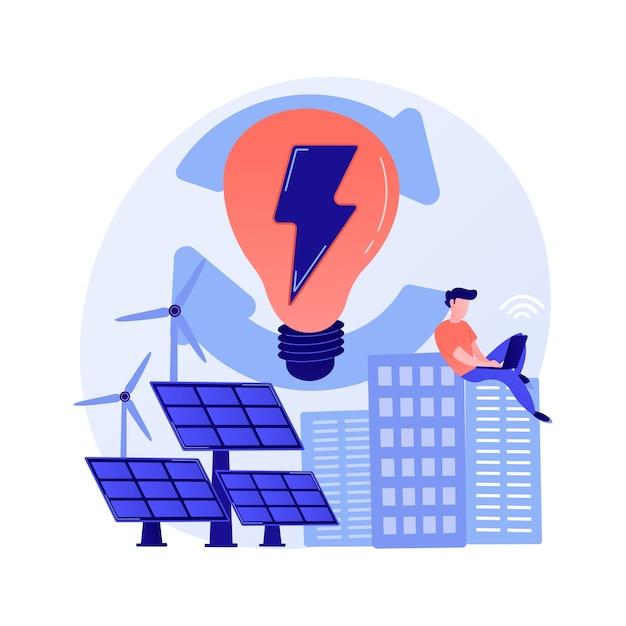 Carga elétrica, geração de eletricidade, produção leve. usuário de pc feminino com personagem de desenho animado de eletrodomésticos. carregamento do dispositivo Vetor grátis