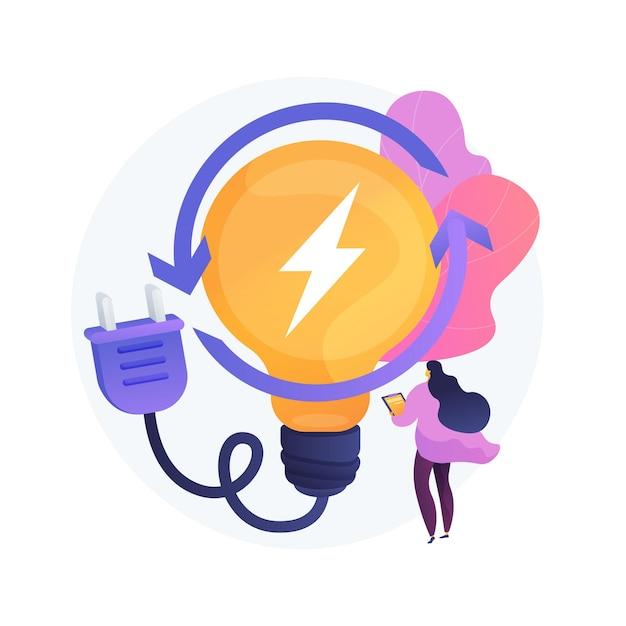 Carga elétrica, geração de eletricidade, produção leve. usuário de pc feminino com personagem de desenho animado de eletrodomésticos. carregamento do dispositivo. Vetor grátis