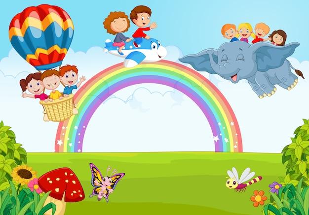 Caricatura Crianca Ligado A Arco Iris Vetor Premium