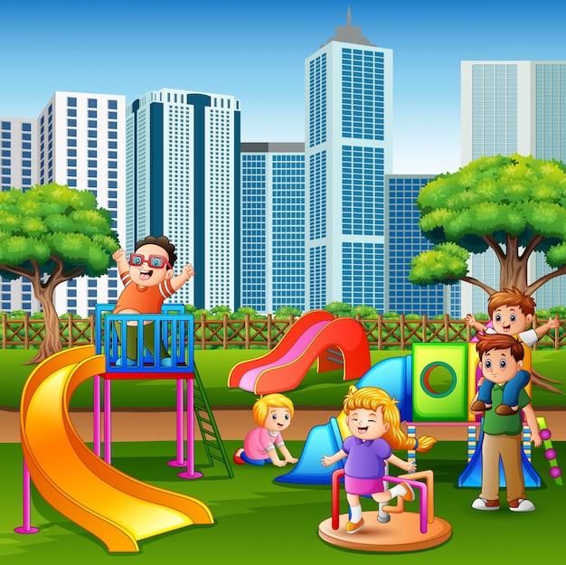 Caricatura, crianças, divertimento, junto, ligado, pátio recreio Vetor Premium