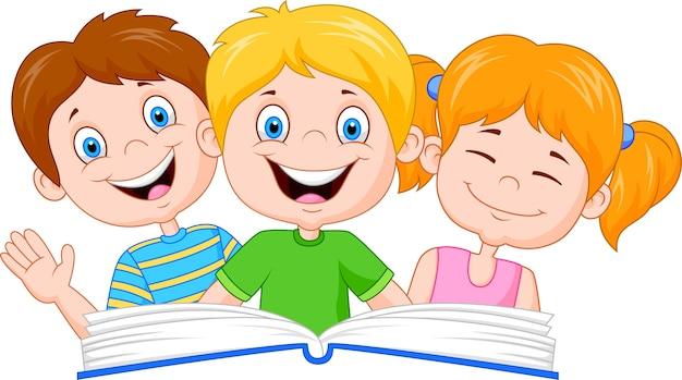 Caricatura, crianças, livro leitura Vetor Premium