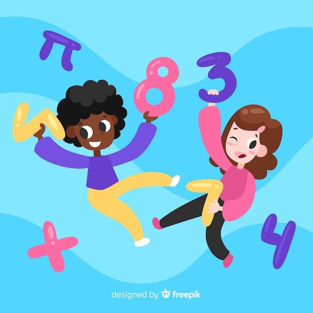 Caricatura, crianças, matemática, conceito, fundo Vetor grátis