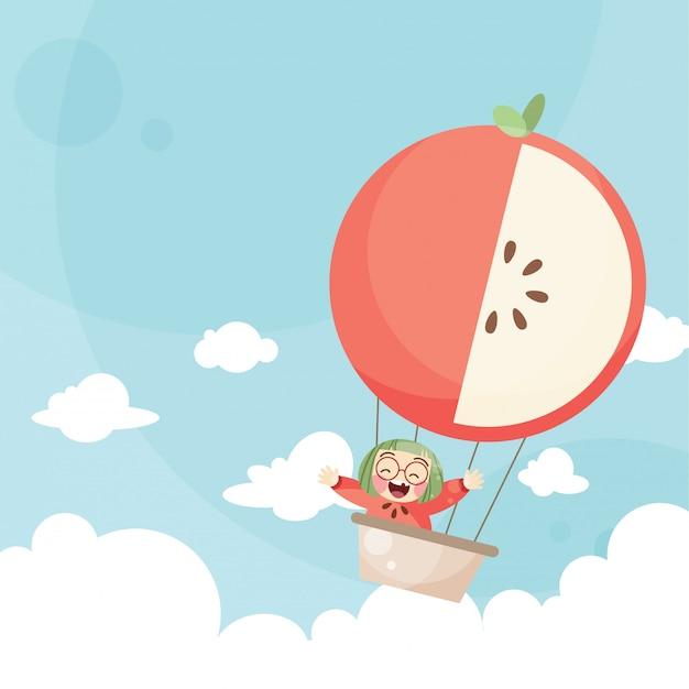 Caricatura, crianças, montando, um, ar quente, balloon, maçã Vetor Premium