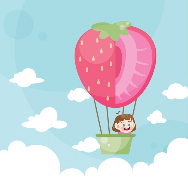 Caricatura, crianças, montando, um, ar quente, balloon, morango Vetor Premium