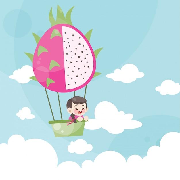 Caricatura, crianças, montando, um, balão ar quente, dragão, fruta Vetor Premium