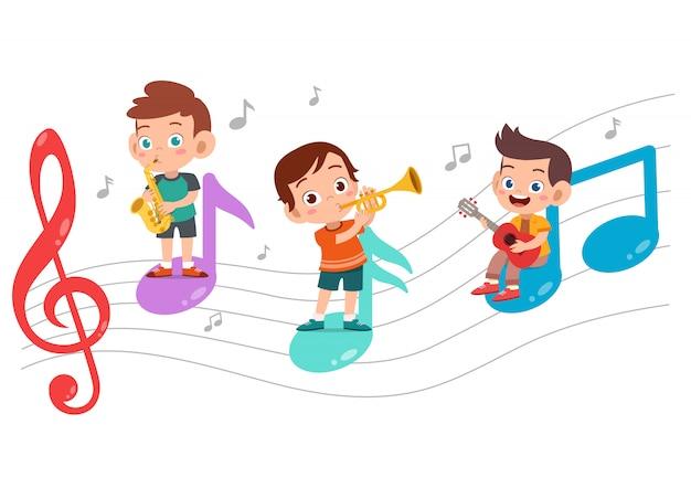 Caricatura, crianças, música tocando Vetor Premium