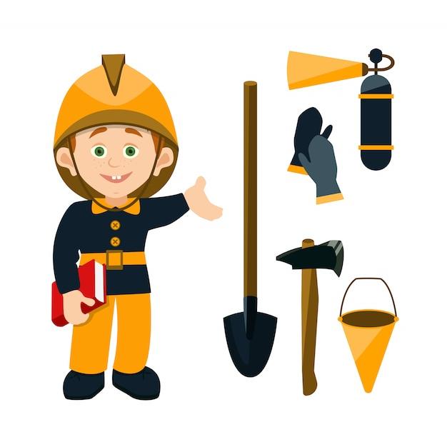 Caricatura, crianças, personagem, bombeiro, segurando, um, livro, e, apontar, a, fogo, equipamento Vetor Premium
