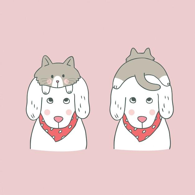Caricatura, cute, doce, gato, e, cão Vetor Premium
