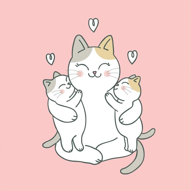 Caricatura, cute, gato, mamãe bebê Vetor Premium