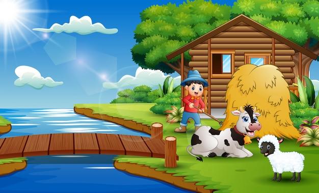 Caricatura, de, agricultor, atividade, em, a, bonito, parque Vetor Premium