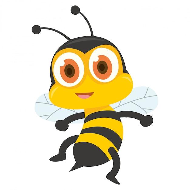 Caricatura, de, amarela, abelha, mostrando, seu, sting Vetor Premium
