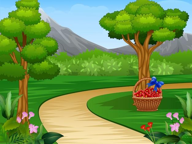 Caricatura, de, bonito, jardim, fundo, com, estrada sujeira Vetor Premium