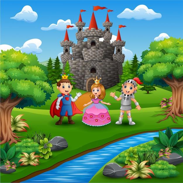 Caricatura, de, cavaleiro, com, princesa príncipe, par, em, a, castelo, página Vetor Premium