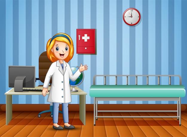 Caricatura, de, doutor mulher, em, consulta, sala Vetor Premium