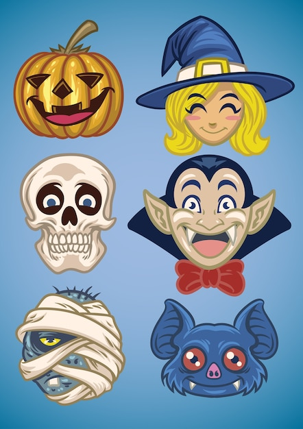 Caricatura, de, halloween, personagem, jogo Vetor Premium