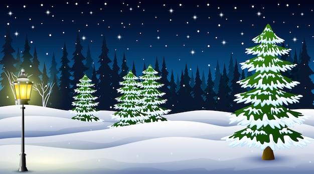 Caricatura, de, inverno, noite, fundo Vetor Premium